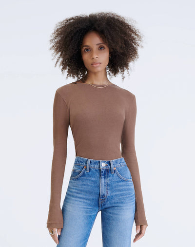 60s Slim Long Sleeve Bodysuit - Natural Tan Brown