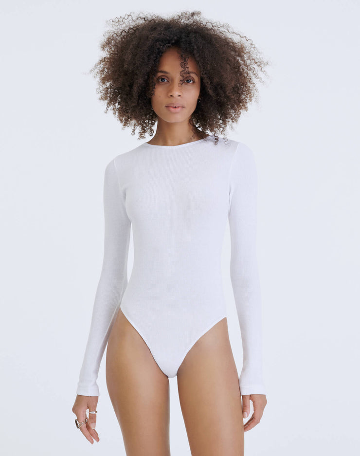 60s Ribbed Long Sleeve Bodysuit - Optic White
