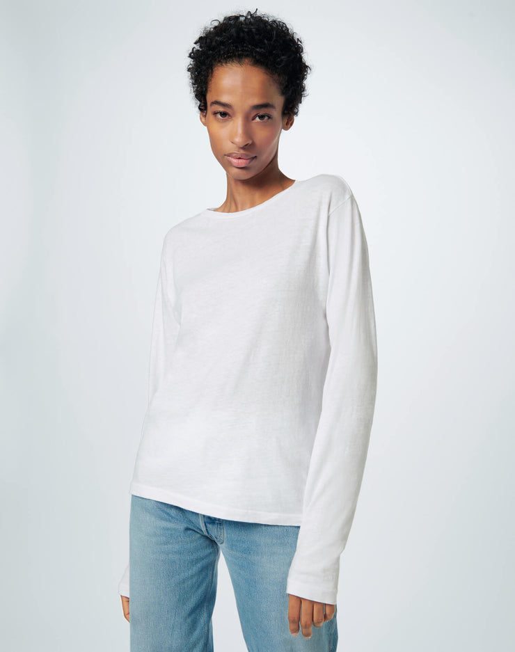 Heritage Cotton Long Sleeve Tee - Optic White