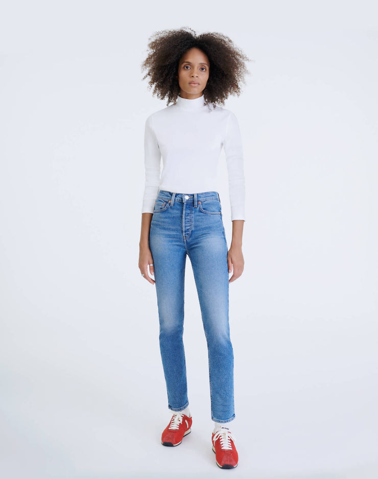 Comfort Stretch High Rise Ankle Crop - Aged Indigo