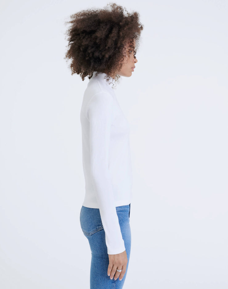 60s Mock Neck L/S  Tee - Off White
