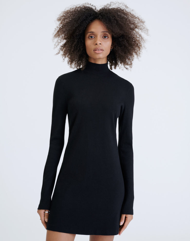 60s Ribbed Mock Neck Dress - Black
