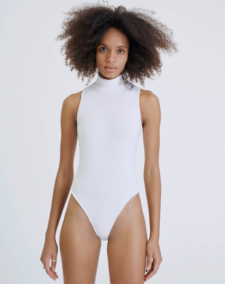 60s Mock Neck Bodysuit - Off White