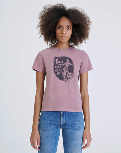"70s Recycled Loose ""Lei Don't Slay"" Tee - Natural Rose"