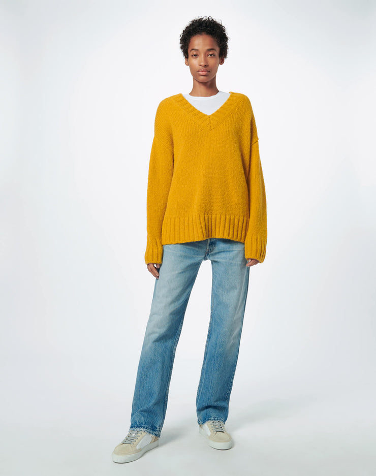 90s Oversized V Neck - Marigold