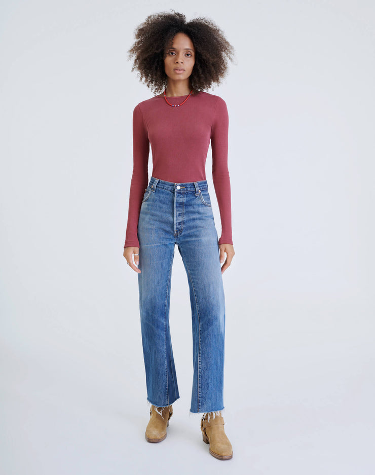 60s Ribbed Long Sleeve Bodysuit - Natural Berry