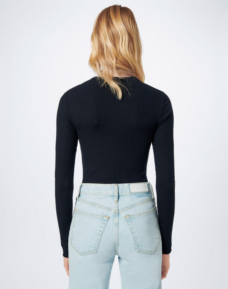 60s Ribbed Long Sleeve Bodysuit - Black