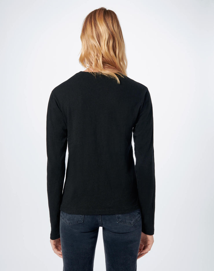 Heritage Cotton Long Sleeve Tee - Black