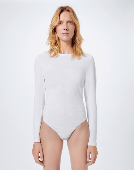 Heritage Cotton Long Sleeve Bodysuit - Optic White