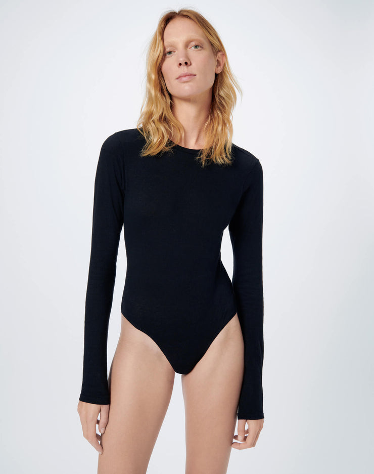 Heritage Cotton Long Sleeve Bodysuit - Black