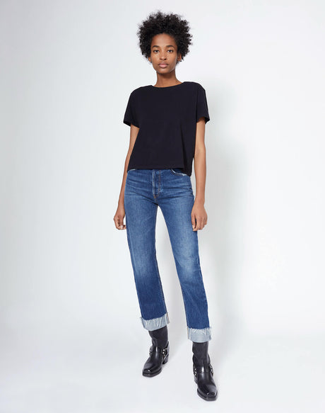 Heritage Cotton 1950s Boxy Tee - Black