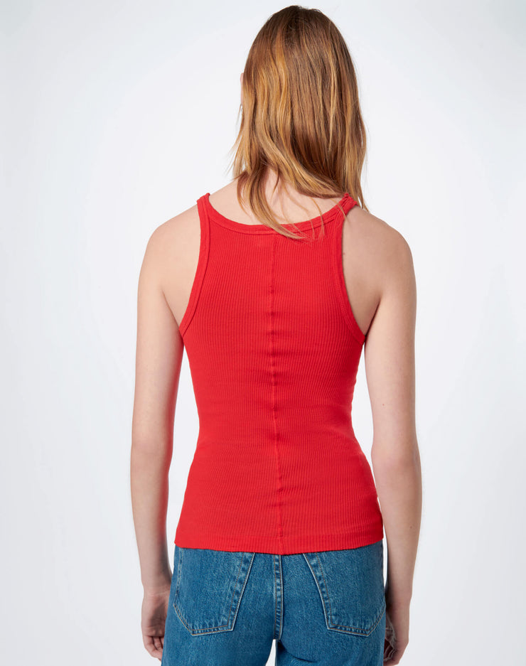 Ribbed Tank - Red Orange
