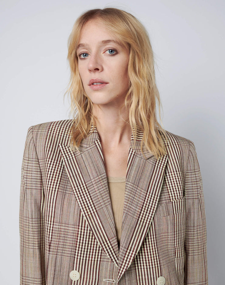 70s Blazer - Ivory Brown Plaid