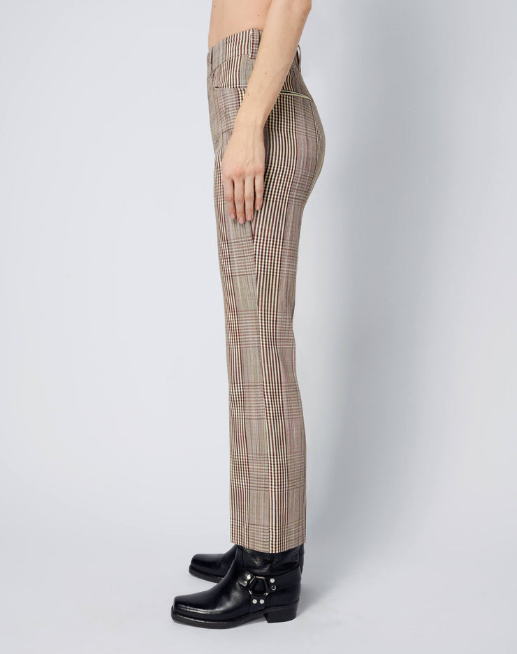70s Trouser - Ivory Brown Plaid