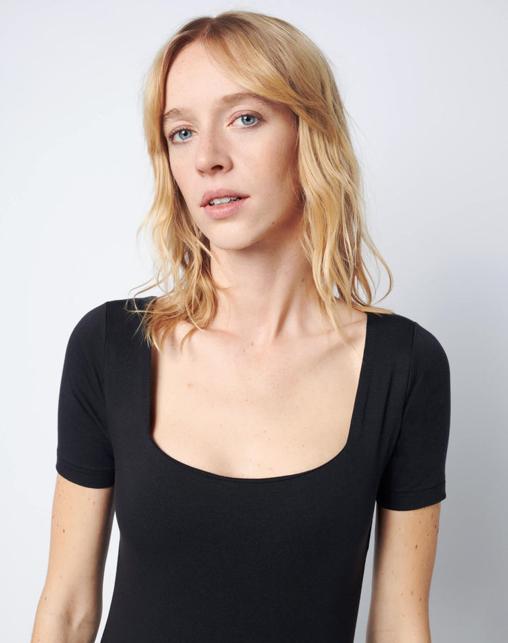 Square Neck Bodysuit - Black
