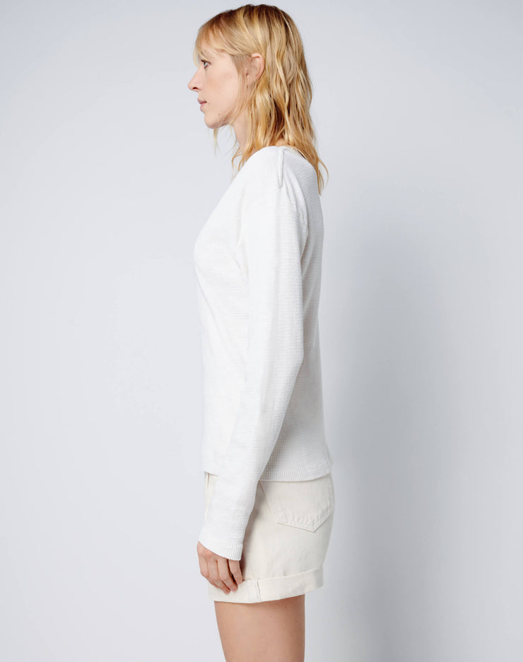 Henley Thermal Long Sleeve Tee - Vintage White