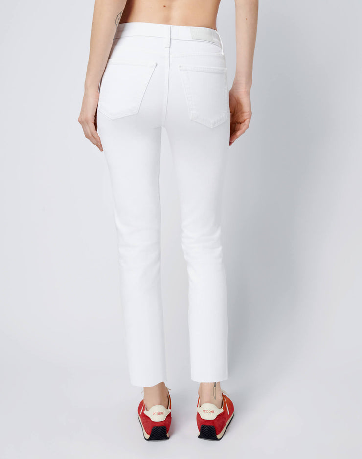 Stretch High Rise Ankle Crop - White