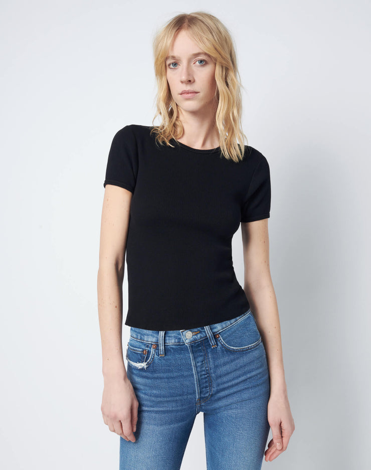 90s Ribbed Cap Sleeve Tee - Black