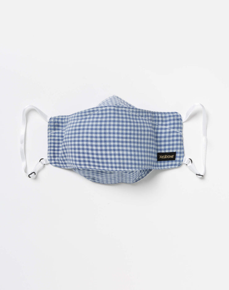 Upcycled Gingham Mask Pouch Set - Blue