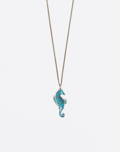"20s Enameled Silver ""Seahorse"" Necklace #8"