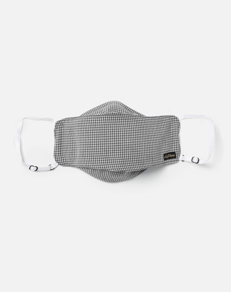 Upcycled Houndstooth Mask Pouch Set - Black