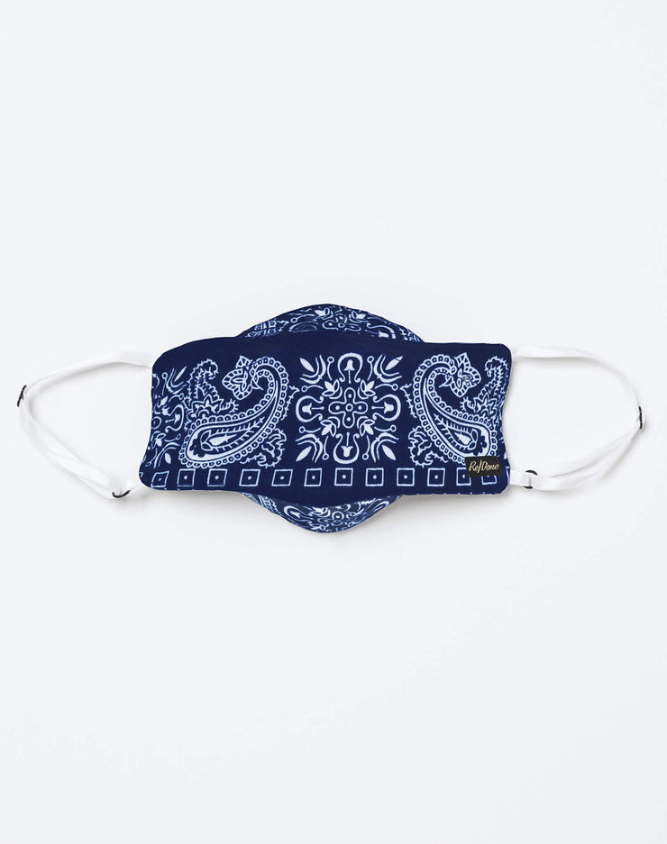 Upcycled Bandana Mask Pouch Set - Navy