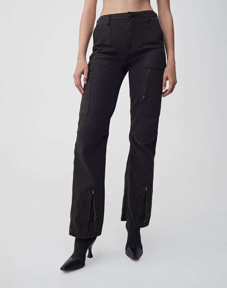High Waisted Cargo | Washed Black | 324-3WHWC | 1