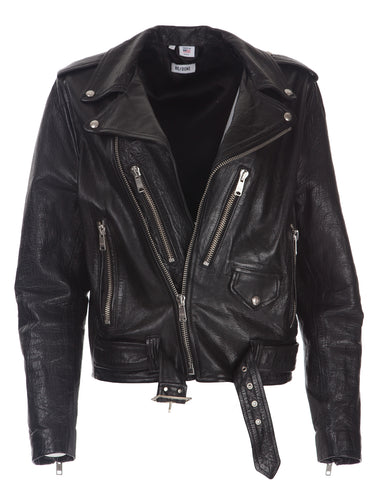 Oversized Leather Jacket - Black