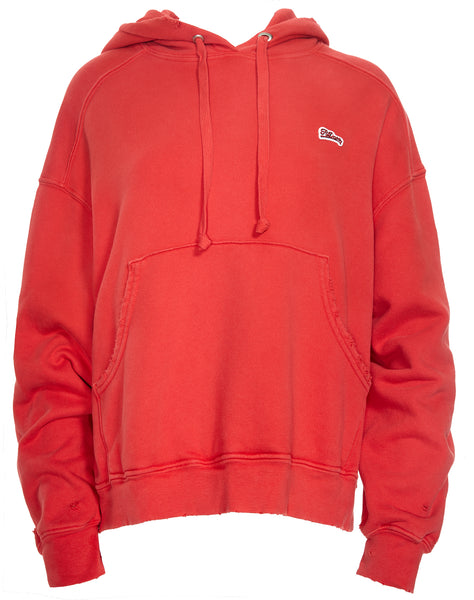 Logo Embroidery Oversized Hoodie - Flame Red
