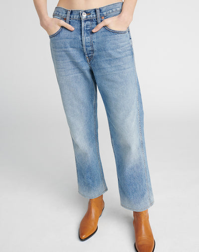 90s Low Slung Crop Jean - Perfect Fade