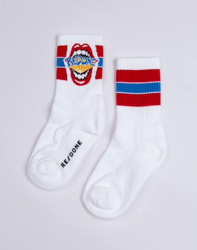 REDONE MOUTH Low Calf Sock - White