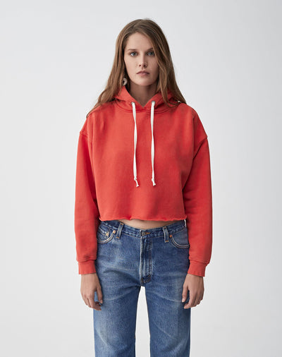 Cropped Raw Hoodie | Washed Red | 012-5WCRHH1 | 1