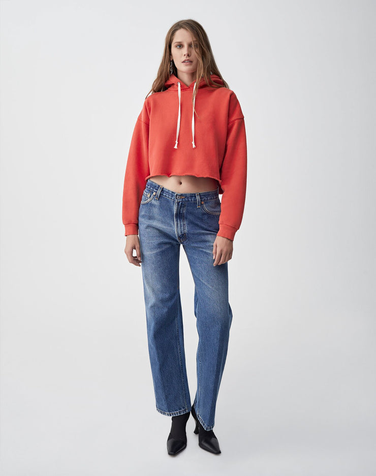 Cropped Raw Hoodie | Washed Red | 012-5WCRHH1 | 2