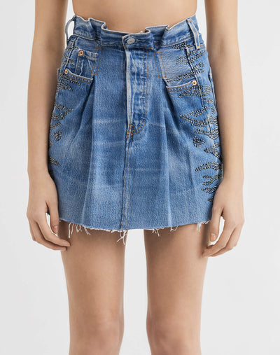 Levi's Pleated Skirt w/ Swarovski Crystals - Indigo