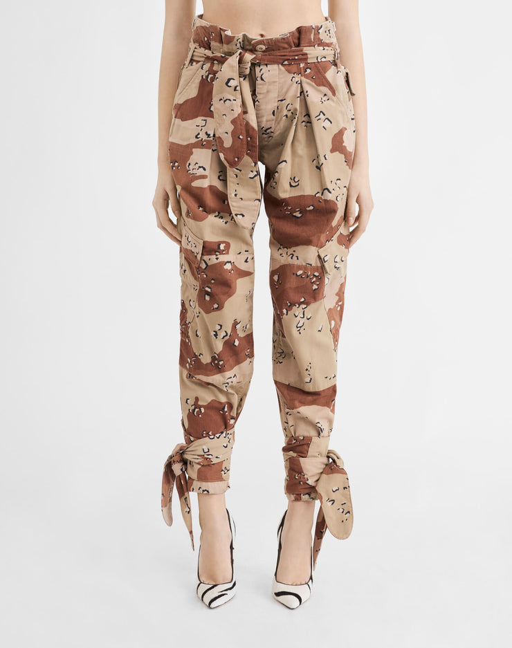 Pleated 80s High Rise Pant - Sand Camo