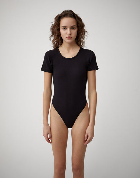 Ribbed Tee Bodysuit | Black | R24-9WRTB | 1