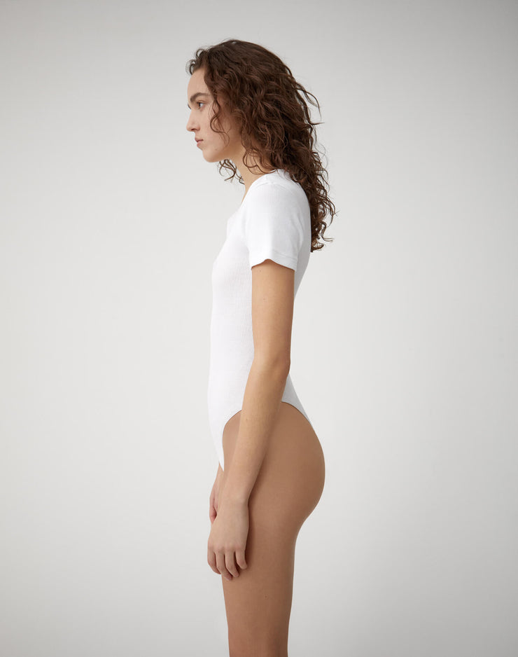 Ribbed Tee Bodysuit | Optic White | R24-9WRTB | 3