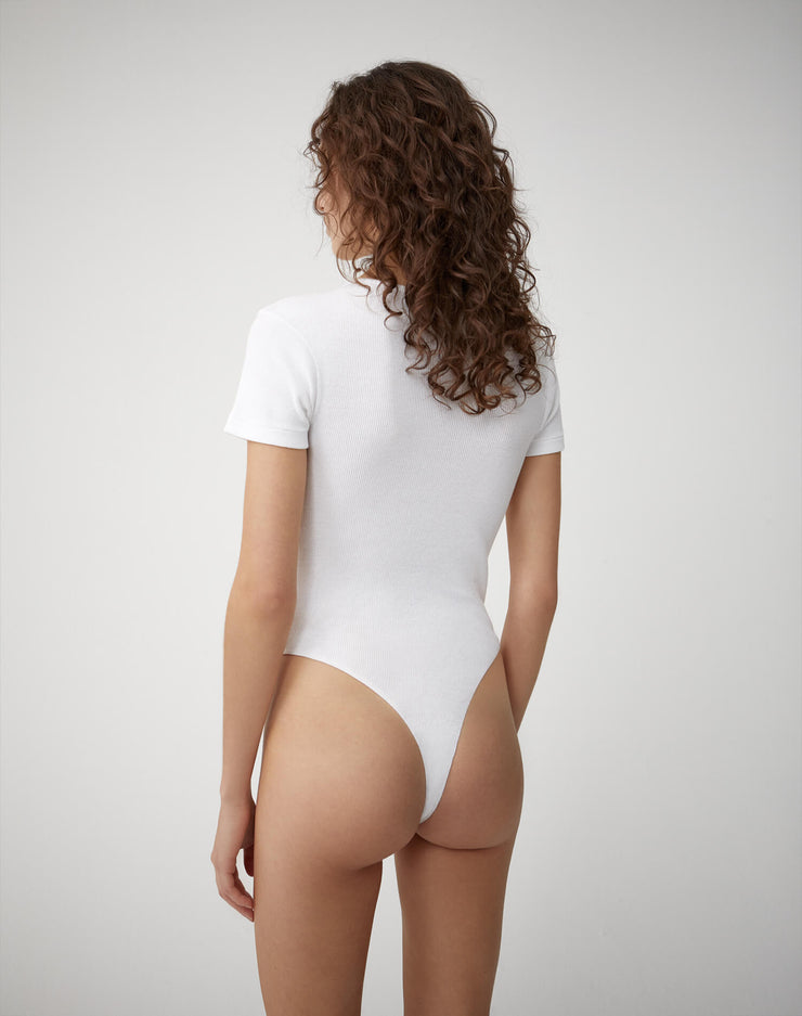 Ribbed Tee Bodysuit | Optic White | R24-9WRTB | 4