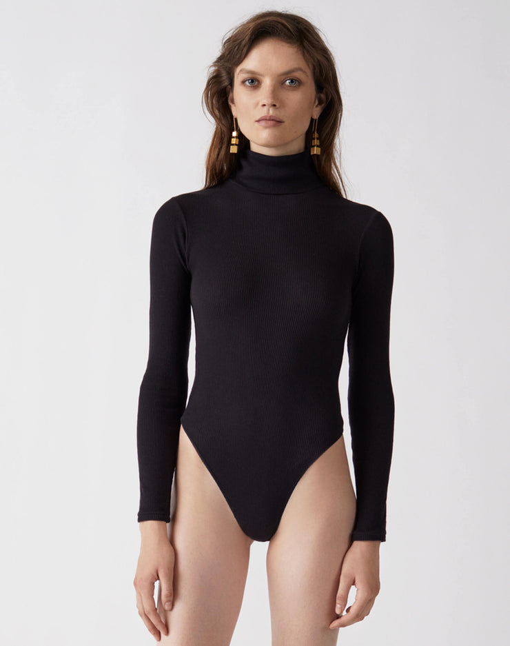 Ribbed Turtleneck Bodysuit | Black | R24-9WTB | 1