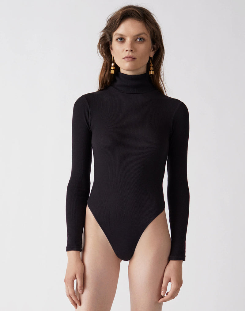 934b641343 RE/DONE | Ribbed Turtleneck Bodysuit in Black