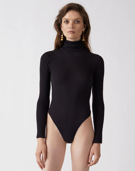 Ribbed Turtleneck Bodysuit - Black