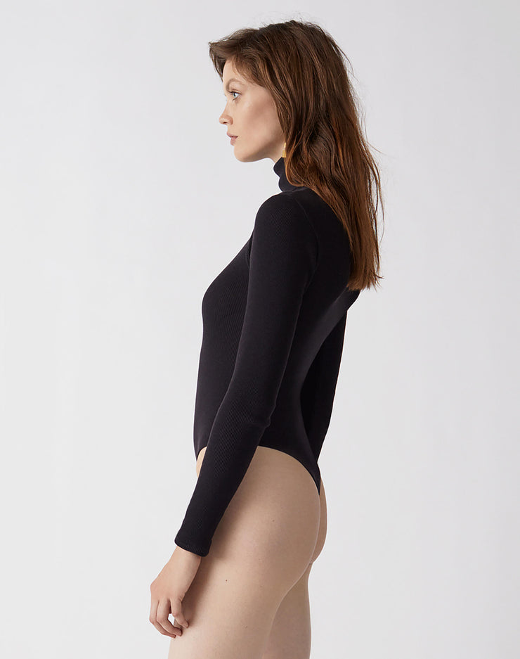 Ribbed Turtleneck Bodysuit | Black | R24-9WTB | 2