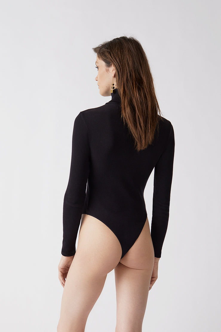 Ribbed Turtleneck Bodysuit | Black | R24-9WTB | 3