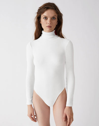 Ribbed Turtleneck Bodysuit - Optic White