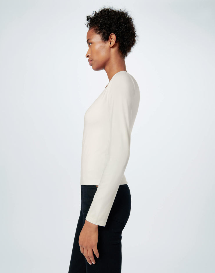 80s Square Neck Long Sleeve Tee - Ivory