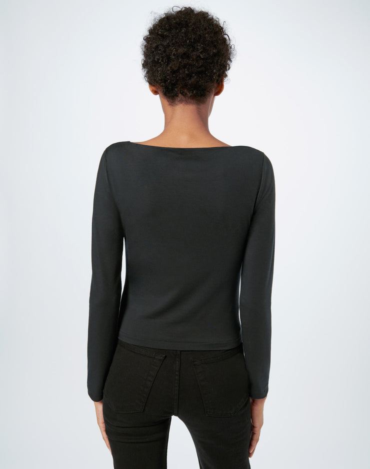 80s Square Neck Long Sleeve Tee - Black