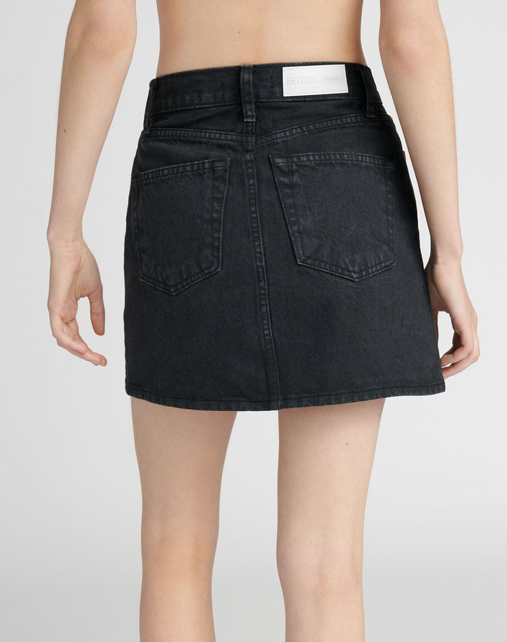 60s Mini Skirt - Washed Black