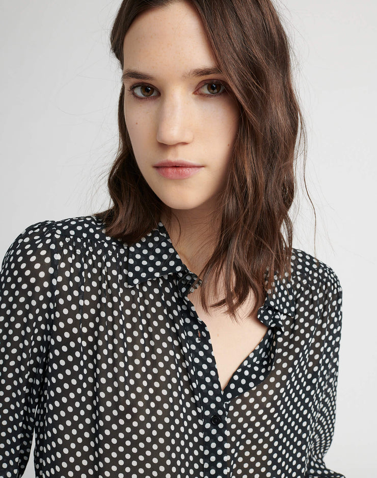 The 60s Cropped Blouse - Black Polka Dot