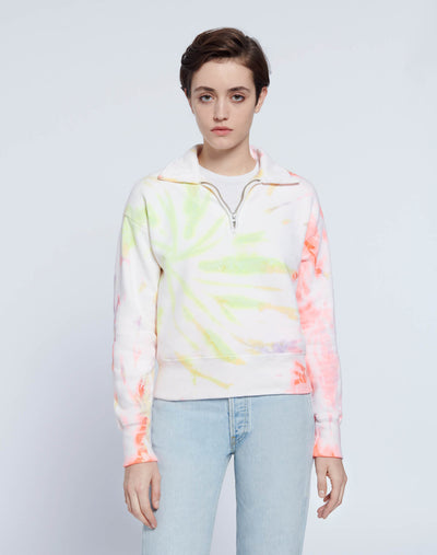 70s Half Zip Sweatshirt - Neon Space Dye
