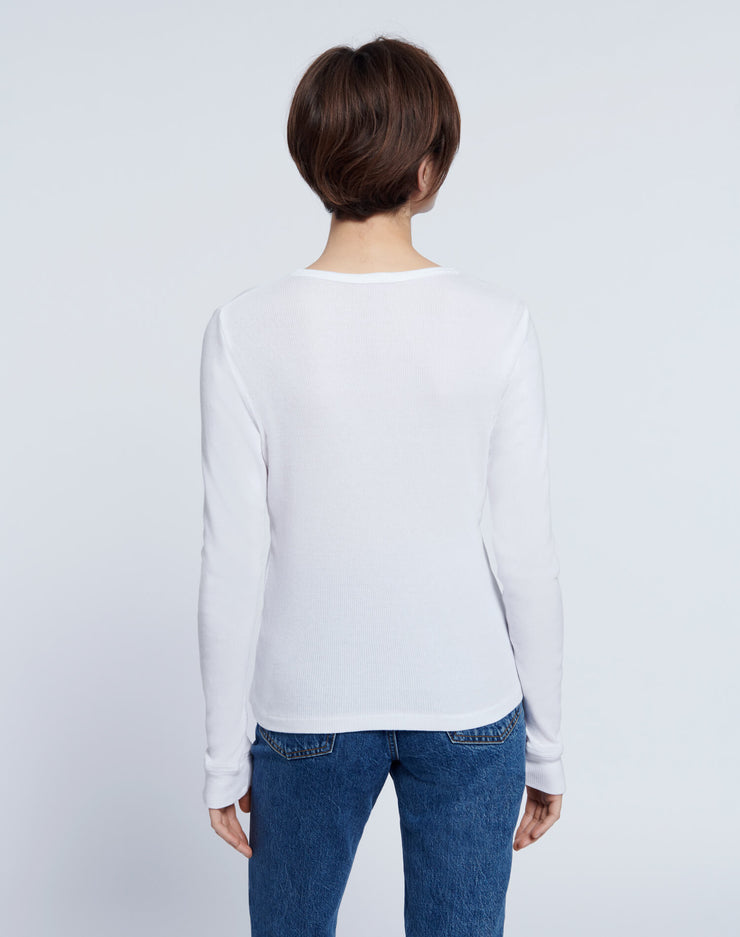60s Slim Henley Long Sleeve - Optic White
